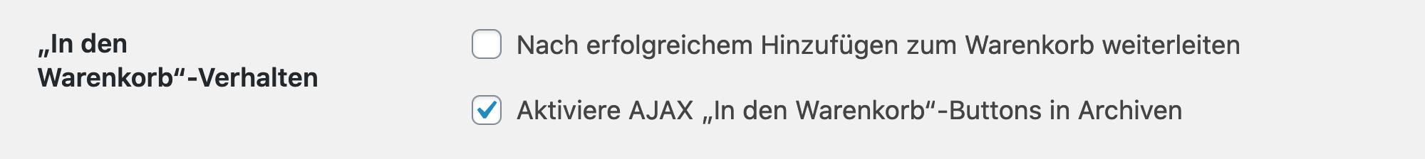 Screenshot WooCommerce AJAX-Einstellung