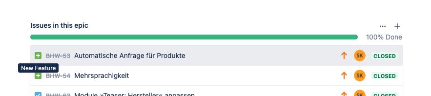 """Screenshot von Tickets des Status """"New Feature"""" in Jira"""