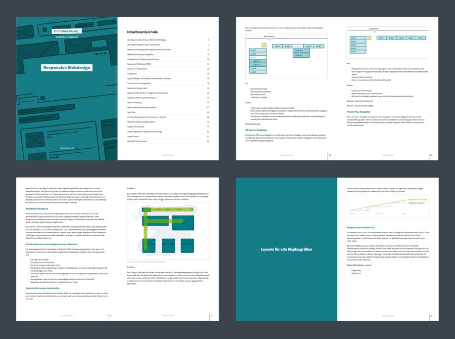 Screenshot verschiedener Doppelseiten aus unseren Schulungsunterlagen im PDF-Format